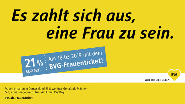 BVG Kampagnenmotiv Equal Pay Day